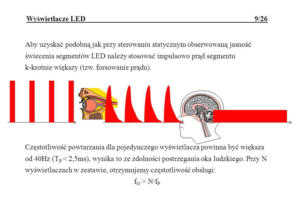 Aby uzyskać podobną jak przy sterowaniu statycznym obserwowaną jasność świecenia segmentów LED należy stosować impulsowo prąd segmentu k-krotnie więks