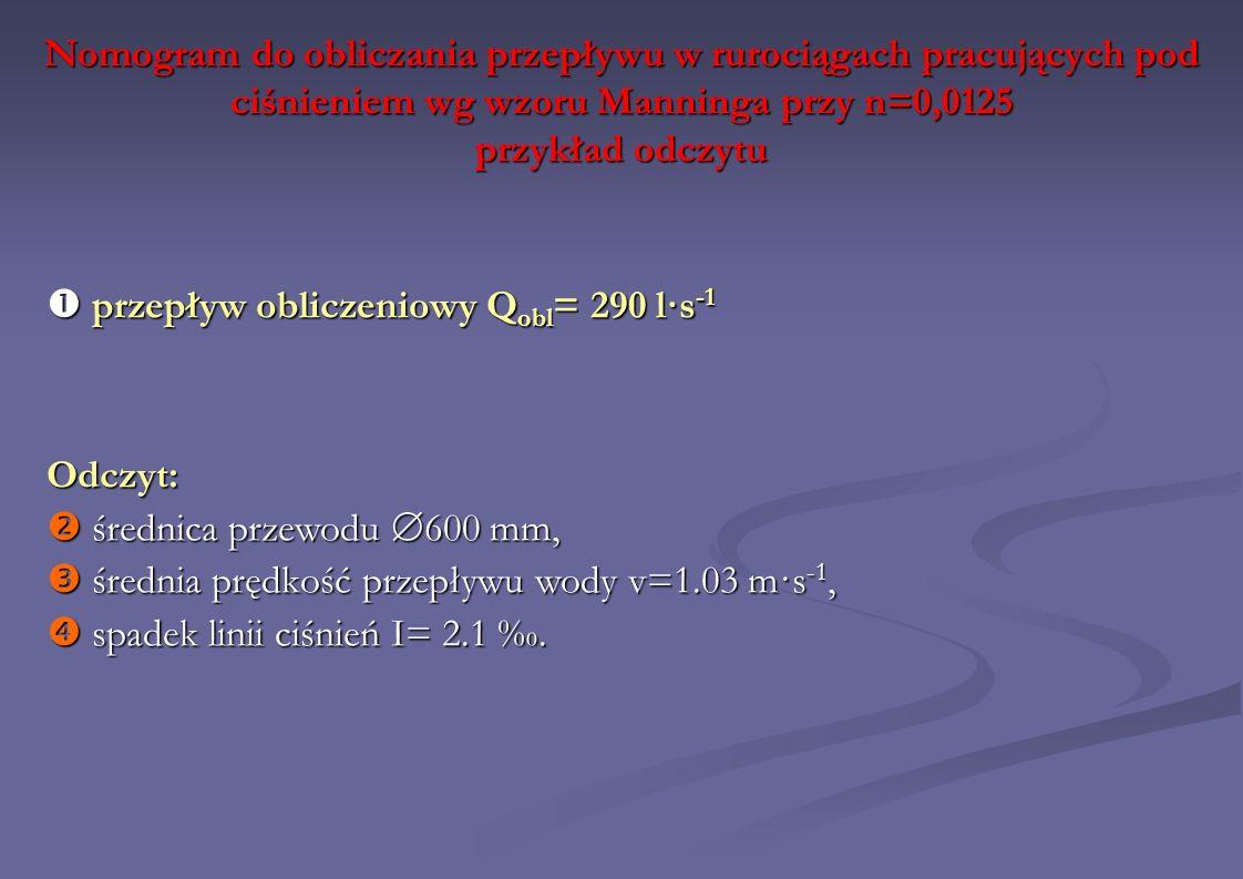 Nomogram do obliczania przepływu w rurociągach pracujących pod ciśnieniem wg wzoru Manninga przy n=0,0125 przykład odczytu Odczyt: średnica przewodu 6