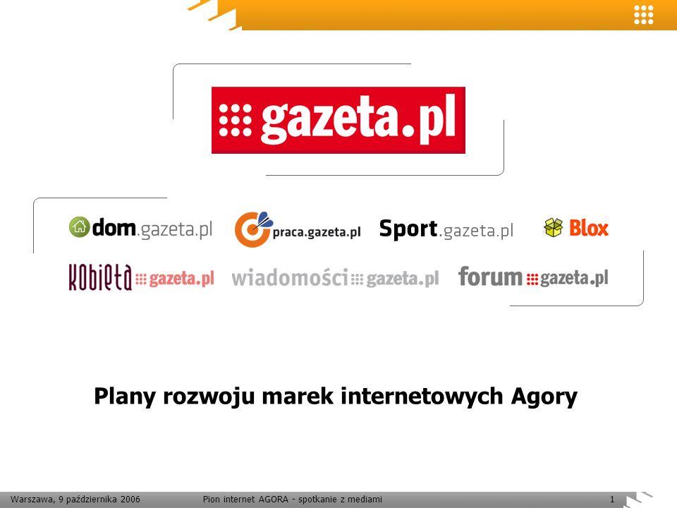 Warszawa, 9 października 2006Pion internet AGORA - spotkanie z mediami1 Plany rozwoju marek internetowych Agory