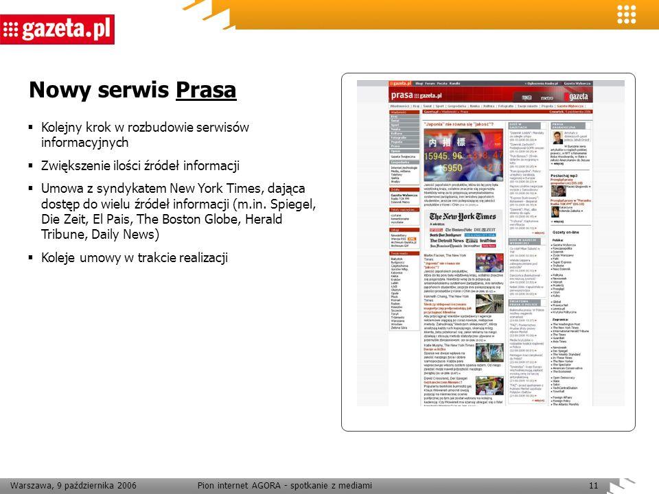 Warszawa, 9 października 2006Pion internet AGORA - spotkanie z mediami11 Nowy serwis Prasa Kolejny krok w rozbudowie serwisów informacyjnych Zwiększen