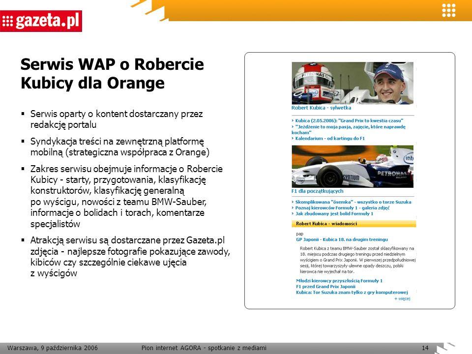 Warszawa, 9 października 2006Pion internet AGORA - spotkanie z mediami14 Serwis WAP o Robercie Kubicy dla Orange Serwis oparty o kontent dostarczany p