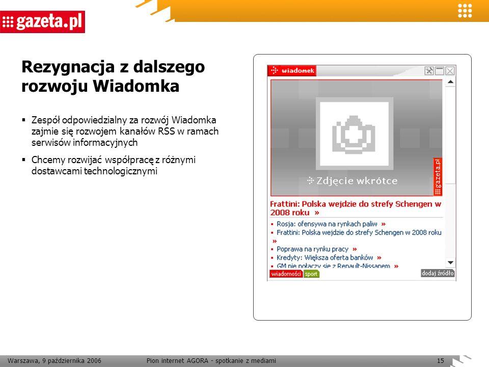 Warszawa, 9 października 2006Pion internet AGORA - spotkanie z mediami15 Rezygnacja z dalszego rozwoju Wiadomka Zespół odpowiedzialny za rozwój Wiadom