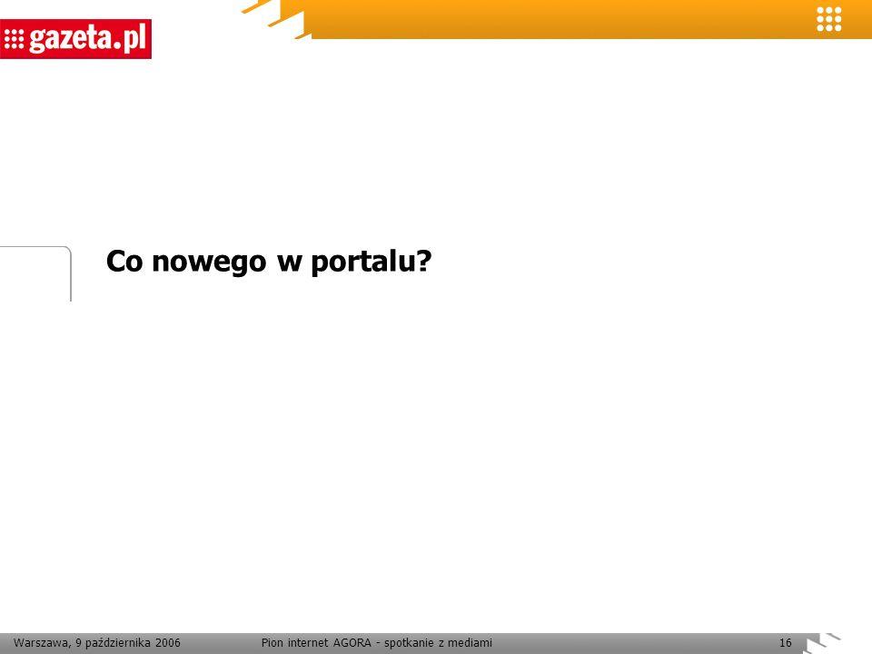 Warszawa, 9 października 2006Pion internet AGORA - spotkanie z mediami16 Co nowego w portalu?