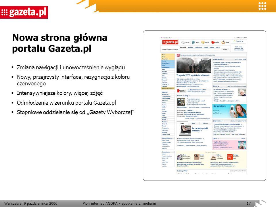 Warszawa, 9 października 2006Pion internet AGORA - spotkanie z mediami17 Nowa strona główna portalu Gazeta.pl Zmiana nawigacji i unowocześnienie wyglą