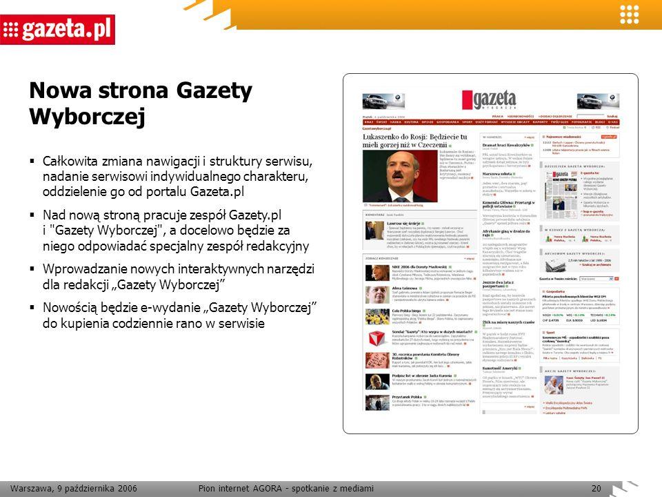 Warszawa, 9 października 2006Pion internet AGORA - spotkanie z mediami20 Nowa strona Gazety Wyborczej Całkowita zmiana nawigacji i struktury serwisu,