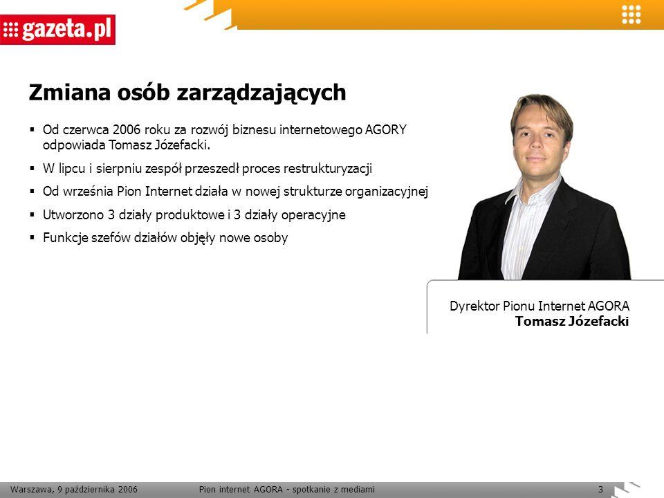 Warszawa, 9 października 2006Pion internet AGORA - spotkanie z mediami3 Zmiana osób zarządzających Dyrektor Pionu Internet AGORA Tomasz Józefacki Od c