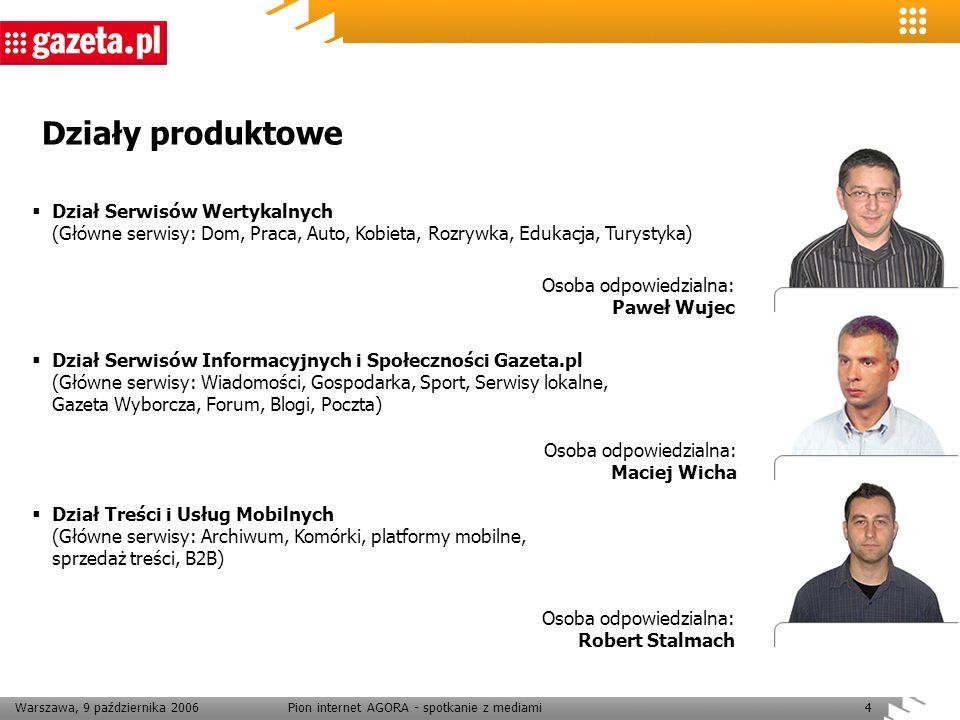 Warszawa, 9 października 2006Pion internet AGORA - spotkanie z mediami15 Rezygnacja z dalszego rozwoju Wiadomka Zespół odpowiedzialny za rozwój Wiadomka zajmie się rozwojem kanałów RSS w ramach serwisów informacyjnych Chcemy rozwijać współpracę z różnymi dostawcami technologicznymi