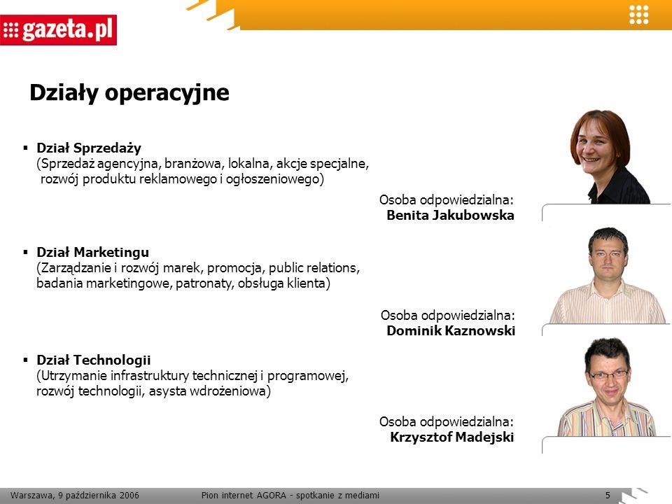 Warszawa, 9 października 2006Pion internet AGORA - spotkanie z mediami5 Działy operacyjne Osoba odpowiedzialna: Benita Jakubowska Osoba odpowiedzialna