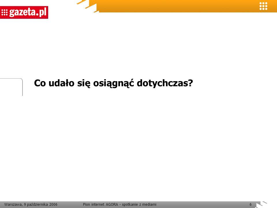 Warszawa, 9 października 2006Pion internet AGORA - spotkanie z mediami27 Dziękuję
