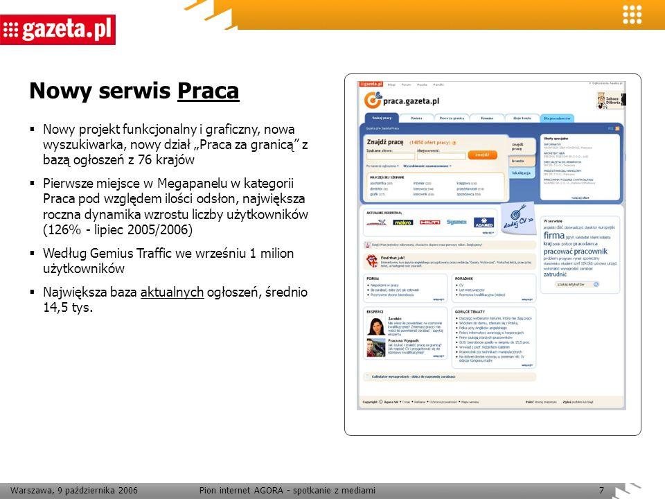 Warszawa, 9 października 2006Pion internet AGORA - spotkanie z mediami7 Nowy serwis Praca Nowy projekt funkcjonalny i graficzny, nowa wyszukiwarka, no