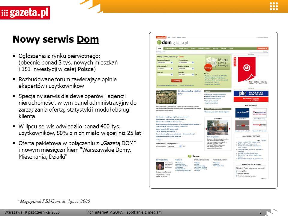 Warszawa, 9 października 2006Pion internet AGORA - spotkanie z mediami8 Nowy serwis Dom Ogłoszenia z rynku pierwotnego; (obecnie ponad 3 tys. nowych m