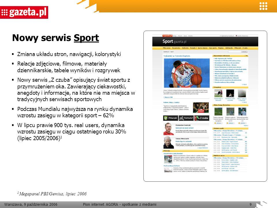 Warszawa, 9 października 2006Pion internet AGORA - spotkanie z mediami9 Nowy serwis Sport Zmiana układu stron, nawigacji, kolorystyki Relacje zdjęciow