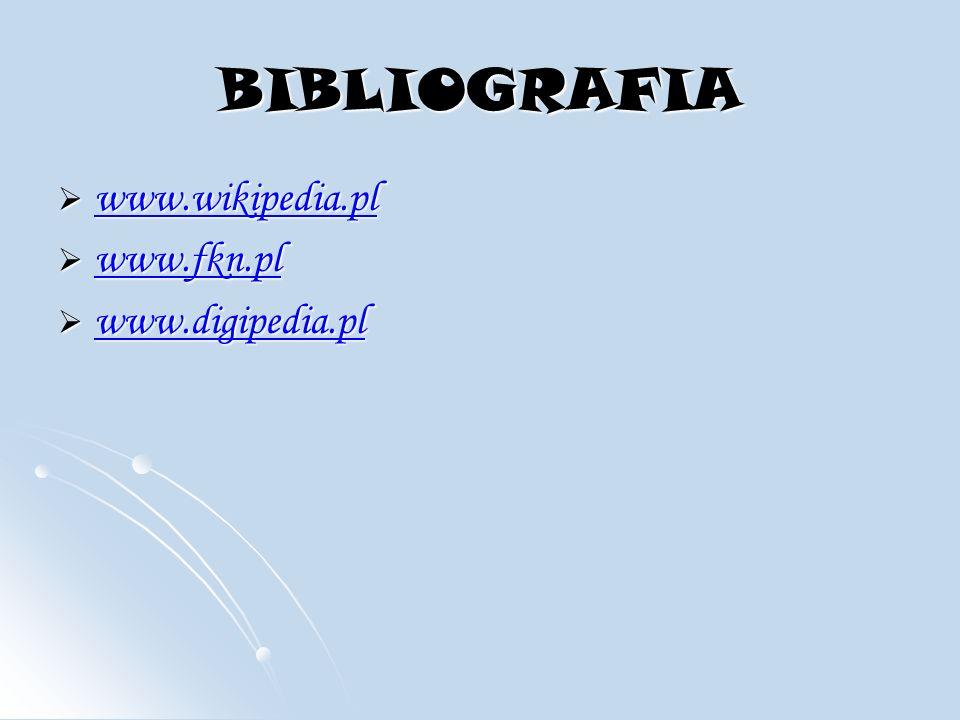 BIBLIOGRAFIA www.wikipedia.pl www.wikipedia.pl www.wikipedia.pl www.fkn.pl www.fkn.pl www.fkn.pl www.digipedia.pl www.digipedia.pl www.digipedia.pl