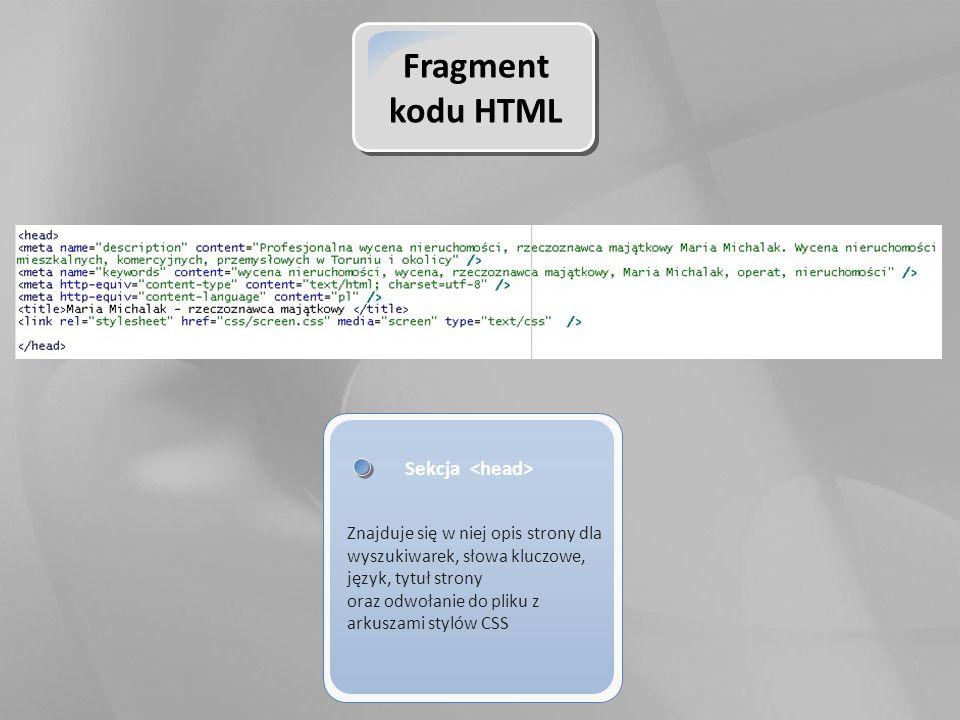 Fragment kodu HTML Sekcja Znajduje się w niej opis strony dla wyszukiwarek, słowa kluczowe, język, tytuł strony oraz odwołanie do pliku z arkuszami stylów CSS