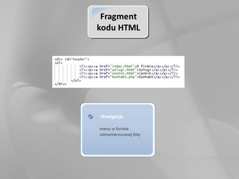 Fragment kodu HTML Nawigacja menu w formie nienumerowanej listy
