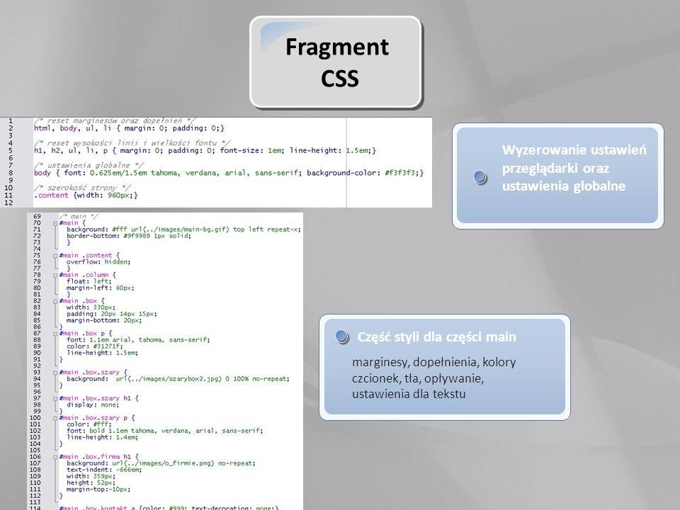Fragment CSS Wyzerowanie ustawień przeglądarki oraz ustawienia globalne Część styli dla części main marginesy, dopełnienia, kolory czcionek, tła, opływanie, ustawienia dla tekstu