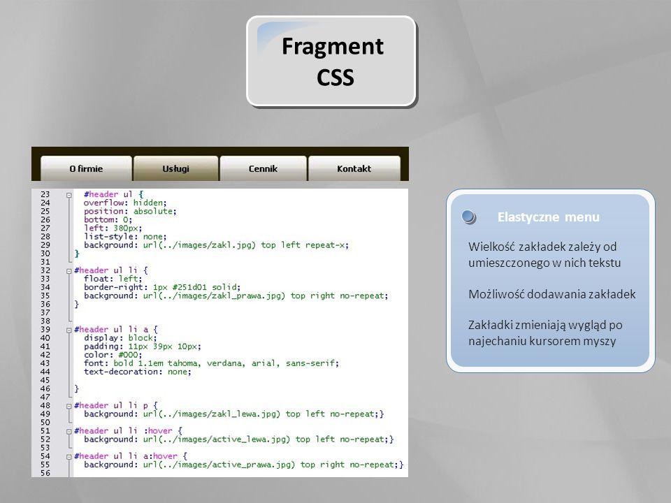 Fragment CSS Elastyczne menu Wielkość zakładek zależy od umieszczonego w nich tekstu Możliwość dodawania zakładek Zakładki zmieniają wygląd po najechaniu kursorem myszy