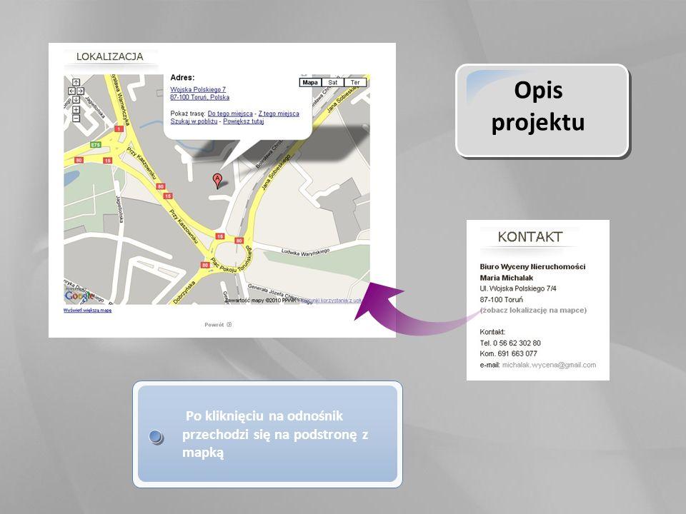 Opis projektu Po kliknięciu na odnośnik przechodzi się na podstronę z mapką