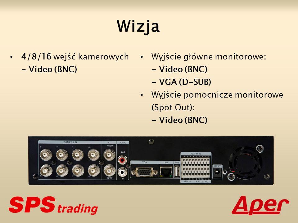 Wizja 4/8/16 wejść kamerowych - Video (BNC) Wyjście główne monitorowe: - Video (BNC) - VGA (D-SUB) Wyjście pomocnicze monitorowe (Spot Out): - Video (