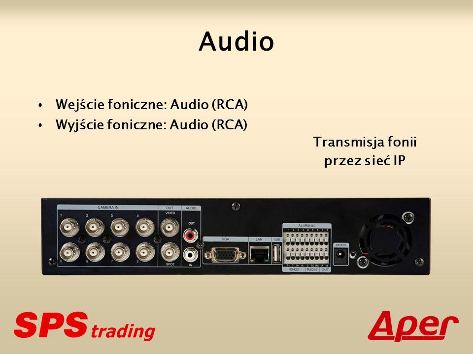 Wejście foniczne: Audio (RCA) Wyjście foniczne: Audio (RCA) Audio Transmisja fonii przez sieć IP