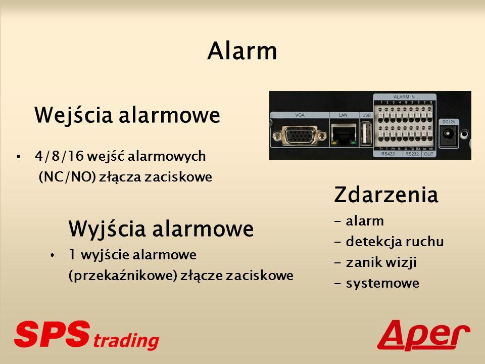 Wejścia alarmowe 4/8/16 wejść alarmowych (NC/NO) złącza zaciskowe Wyjścia alarmowe 1 wyjście alarmowe (przekaźnikowe) złącze zaciskowe Alarm Zdarzenia - alarm - detekcja ruchu - zanik wizji - systemowe