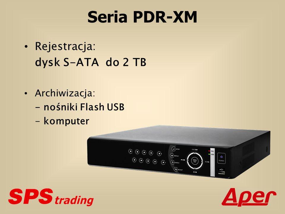 Seria PDR-XM Model 4-kanałowy PDR-XM3004 8-kanałowy PDR-XM3008 16-kanałowy PDR-XM3016 Prędkość rejestracji rejestratorkamera 100 kl./s 25 kl./s 50 kl./s 12 kl./s 25 kl./s 6 kl./s 100 kl./s 12 kl./s 50 kl./s 6 kl./s 25 kl./s 3 kl./s 100 kl./s 6 kl./s 50 kl./s 3 kl./s 25 kl./s 1 kl./s Rozdzielczość rejestracji CIF 2CIF 4CIF CIF 2CIF 4CIF CIF 2CIF 4CIF