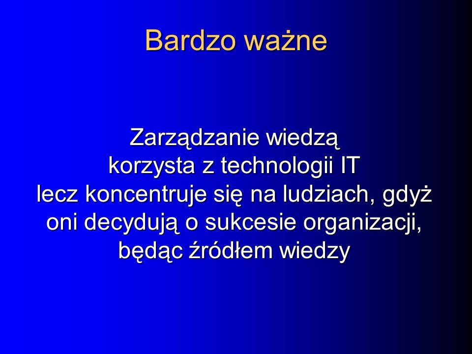 Zarządzanie wiedzą korzysta z technologii IT lecz koncentruje się na ludziach, gdyż oni decydują o sukcesie organizacji, będąc źródłem wiedzy Bardzo ważne