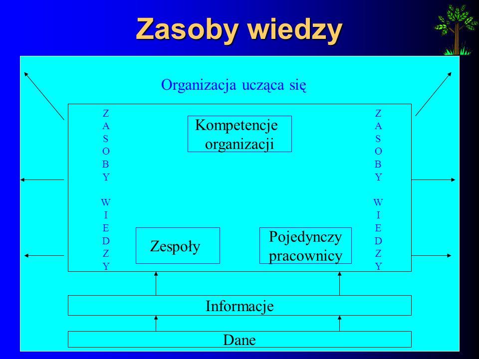 Zasoby wiedzy Organizacja ucząca się Kompetencje organizacji Zespoły Pojedynczy pracownicy ZASOBYWIEDZYZASOBYWIEDZY ZASOBYWIEDZYZASOBYWIEDZY Informacje Dane