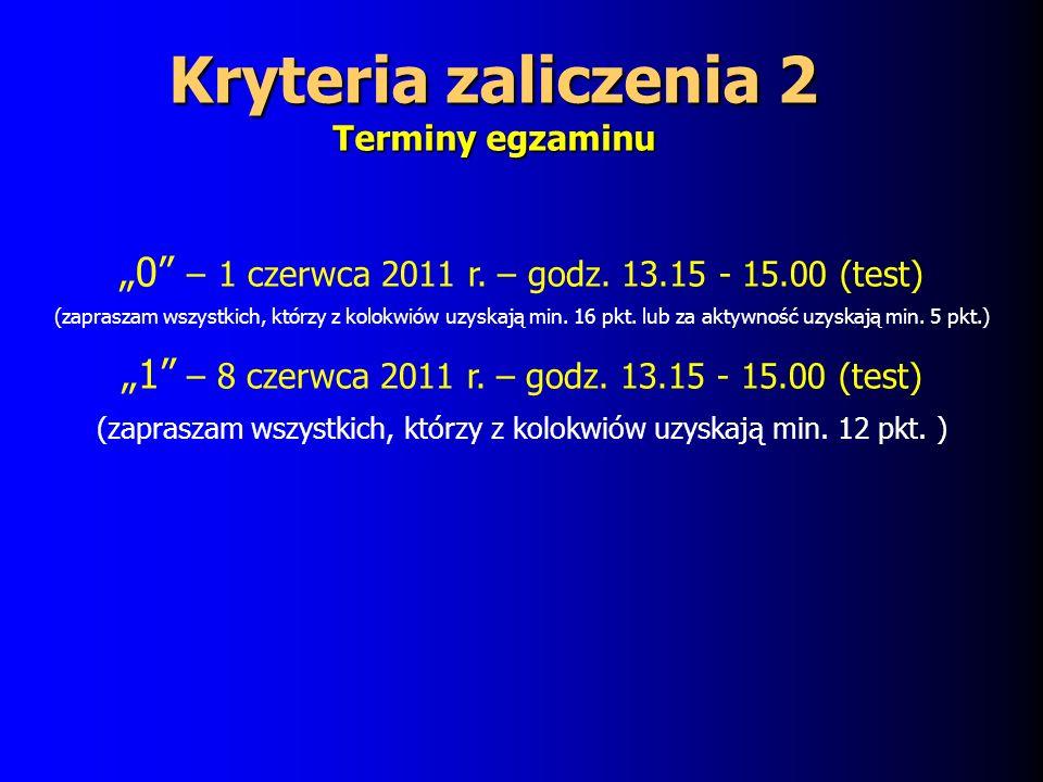 Kryteria zaliczenia 2 Terminy egzaminu 0 – 1 czerwca 2011 r.
