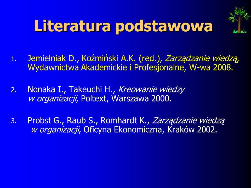 Literatura podstawowa 1.Jemielniak D., Koźmiński A.K.