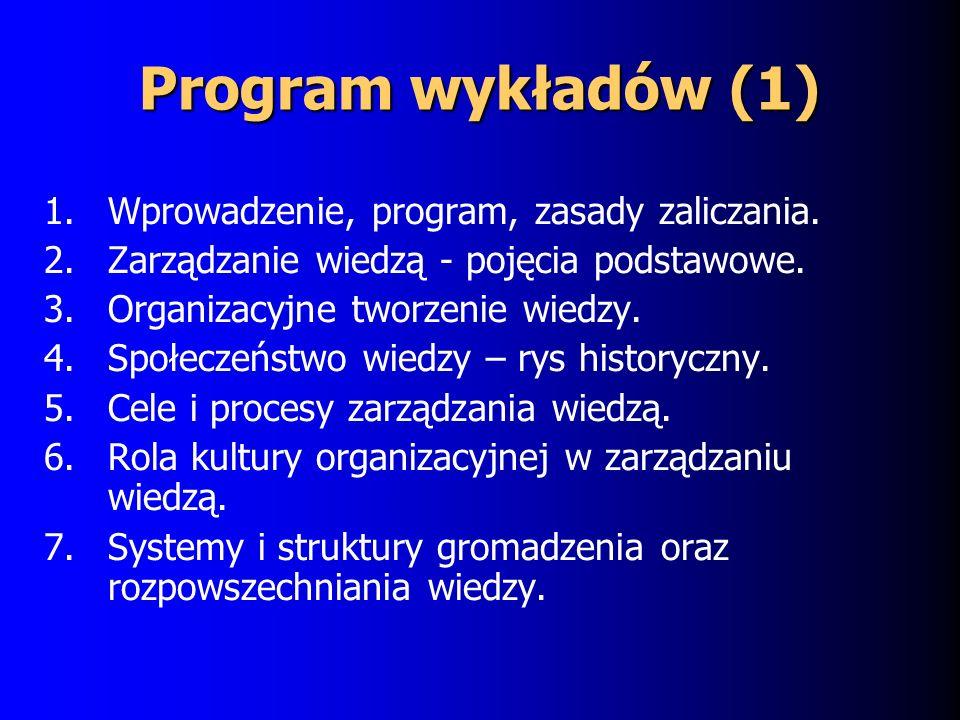 Program wykładów (1) 1.Wprowadzenie, program, zasady zaliczania.