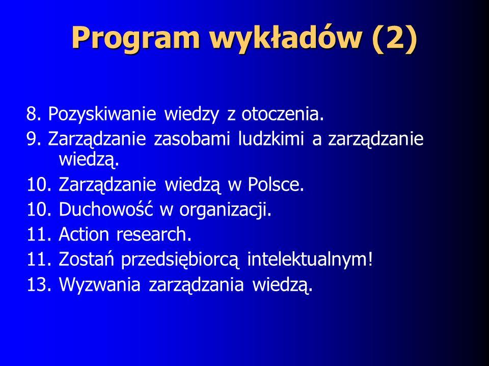 Program wykładów (2) 8.Pozyskiwanie wiedzy z otoczenia.
