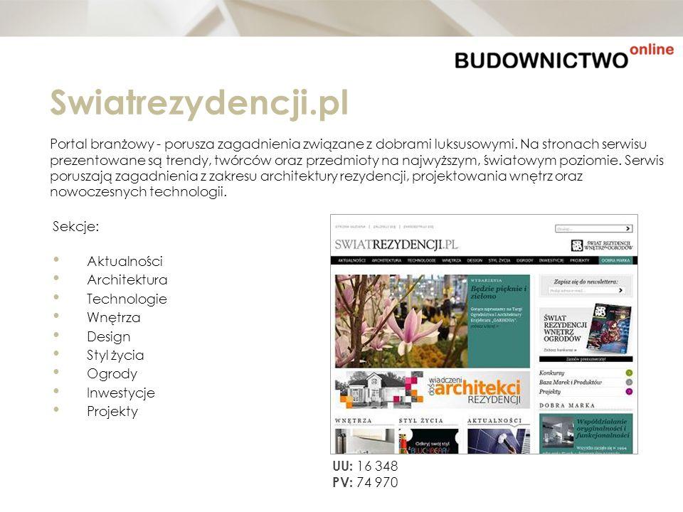 Swiatrezydencji.pl Portal branżowy - porusza zagadnienia związane z dobrami luksusowymi. Na stronach serwisu prezentowane są trendy, twórców oraz prze
