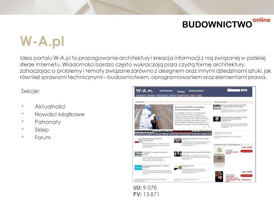 W-A.pl Idea portalu W-A.pl to propagowanie architektury i kreacja informacji z nią związanej w polskiej sferze Internetu. Wiadomości bardzo często wyk