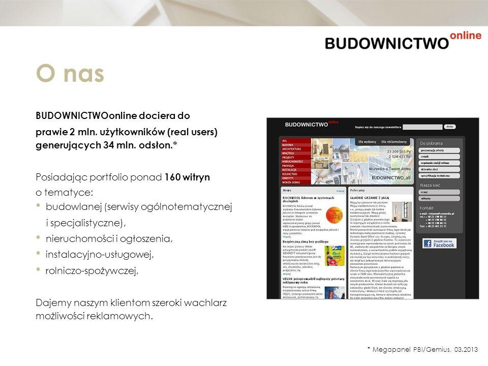 O nas BUDOWNICTWOonline dociera do prawie 2 mln. użytkowników (real users) generujących 34 mln. odsłon.* Posiadając portfolio ponad 160 witryn o temat