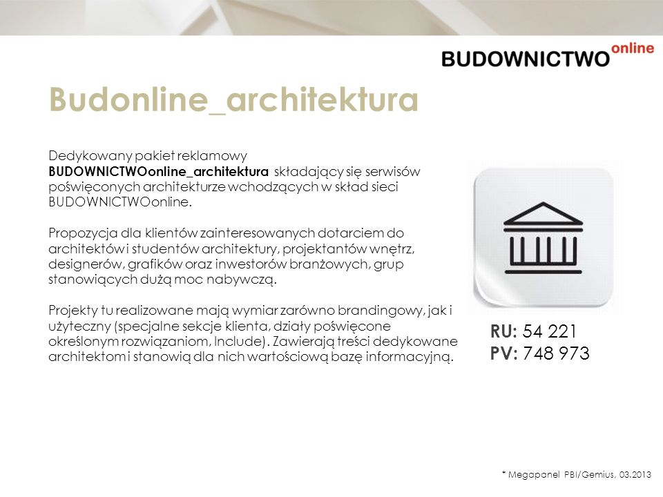 Budonline_architektura Dedykowany pakiet reklamowy BUDOWNICTWOonline_architektura składający się serwisów poświęconych architekturze wchodzących w skł