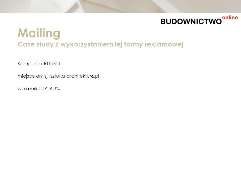 Kampania: RUUKKI miejsce emisji: sztuka-architektur a.pl wskaźnik CTR: 9,3% Mailing Case study z wykorzystaniem tej formy reklamowej