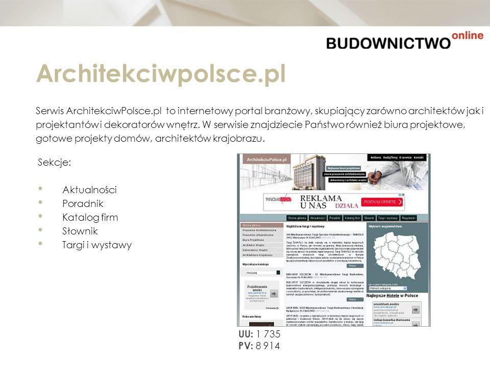 Architekciwpolsce.pl Serwis ArchitekciwPolsce.pl to internetowy portal branżowy, skupiający zarówno architektów jak i projektantów i dekoratorów wnętr