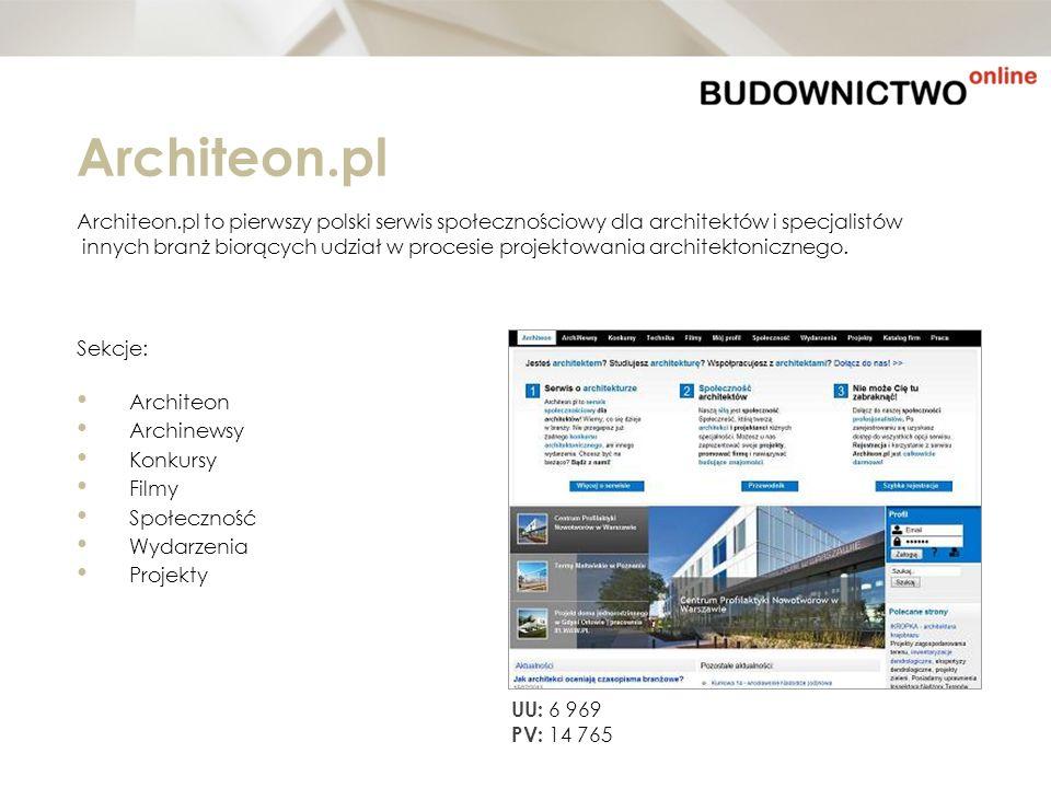 Architeon.pl Architeon.pl to pierwszy polski serwis społecznościowy dla architektów i specjalistów innych branż biorących udział w procesie projektowa