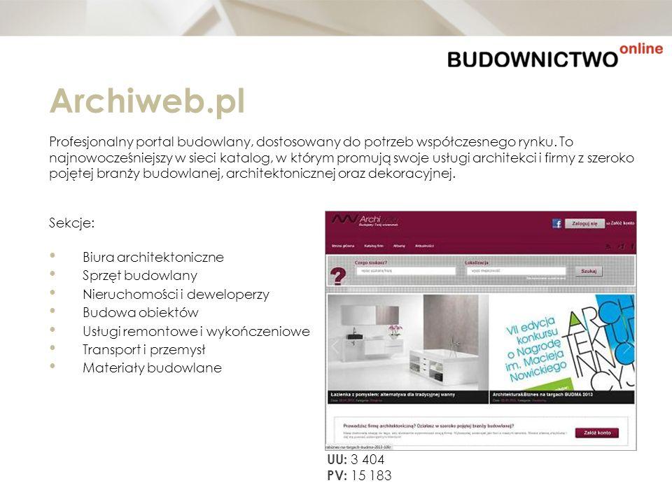 Archiweb.pl Profesjonalny portal budowlany, dostosowany do potrzeb współczesnego rynku. To najnowocześniejszy w sieci katalog, w którym promują swoje