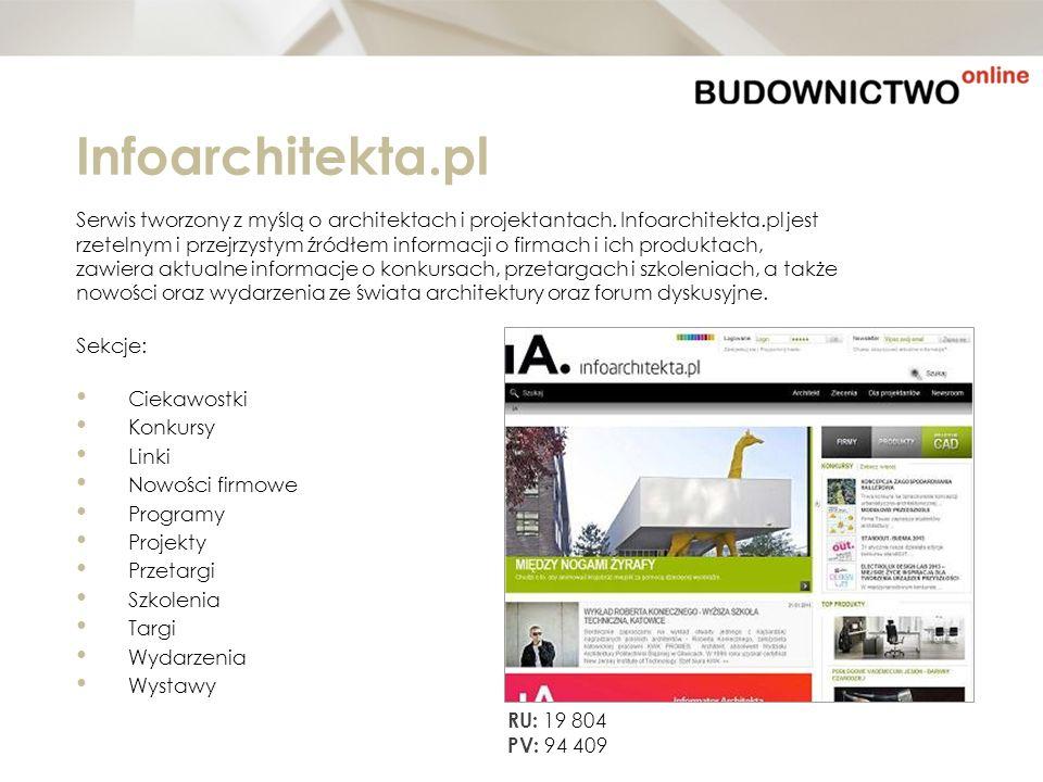 Infoarchitekta.pl Serwis tworzony z myślą o architektach i projektantach. Infoarchitekta.pl jest rzetelnym i przejrzystym źródłem informacji o firmach