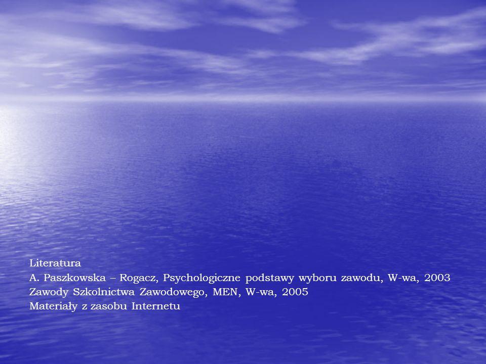 Literatura A. Paszkowska – Rogacz, Psychologiczne podstawy wyboru zawodu, W-wa, 2003 Zawody Szkolnictwa Zawodowego, MEN, W-wa, 2005 Materiały z zasobu