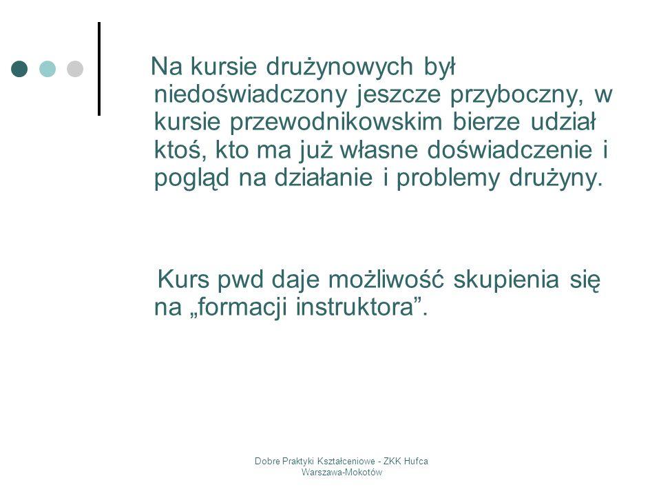 Dobre Praktyki Kształceniowe - ZKK Hufca Warszawa-Mokotów Na kursie drużynowych był niedoświadczony jeszcze przyboczny, w kursie przewodnikowskim bier
