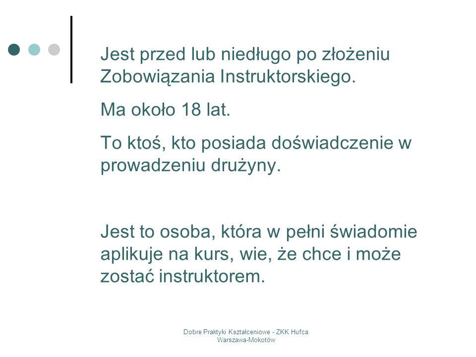 Dobre Praktyki Kształceniowe - ZKK Hufca Warszawa-Mokotów Jest przed lub niedługo po złożeniu Zobowiązania Instruktorskiego. Ma około 18 lat. To ktoś,