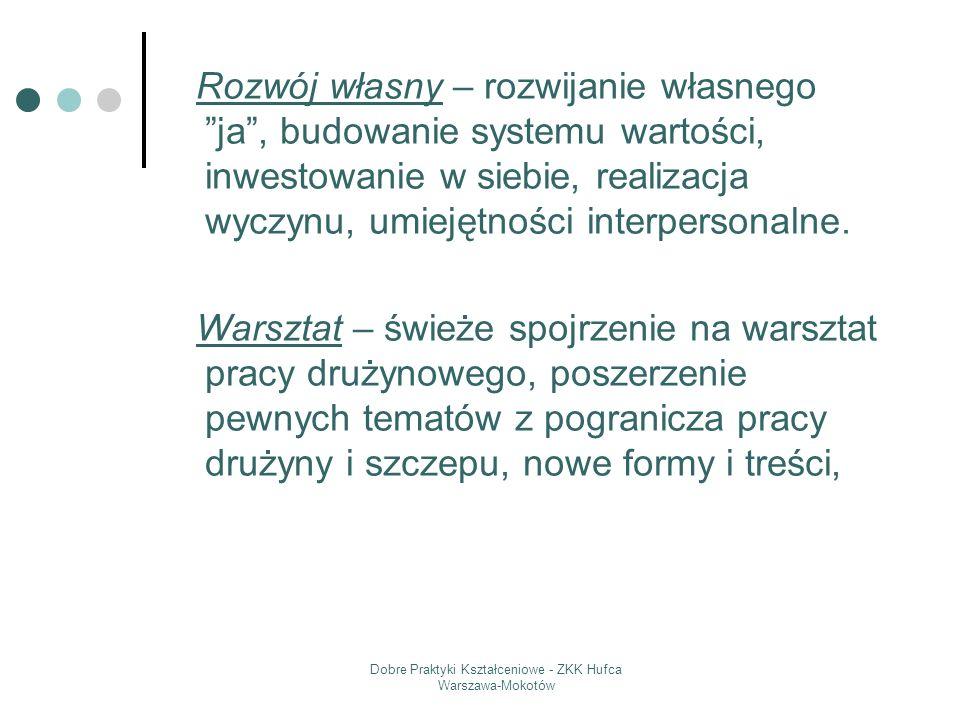 Dobre Praktyki Kształceniowe - ZKK Hufca Warszawa-Mokotów Rozwój własny – rozwijanie własnego ja, budowanie systemu wartości, inwestowanie w siebie, r