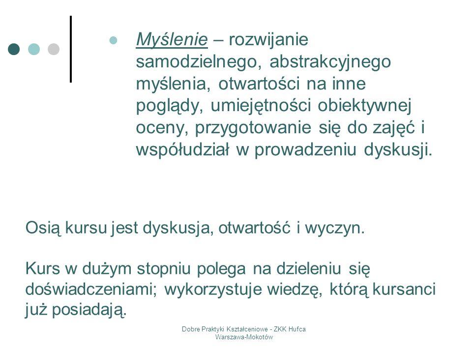Dobre Praktyki Kształceniowe - ZKK Hufca Warszawa-Mokotów Myślenie – rozwijanie samodzielnego, abstrakcyjnego myślenia, otwartości na inne poglądy, um