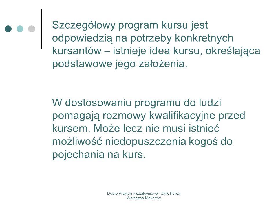 Dobre Praktyki Kształceniowe - ZKK Hufca Warszawa-Mokotów Szczegółowy program kursu jest odpowiedzią na potrzeby konkretnych kursantów – istnieje idea
