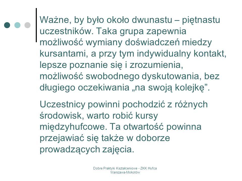 Dobre Praktyki Kształceniowe - ZKK Hufca Warszawa-Mokotów Ważne, by było około dwunastu – piętnastu uczestników. Taka grupa zapewnia możliwość wymiany
