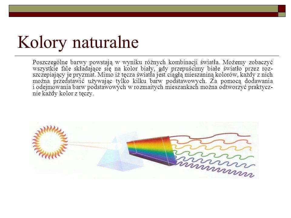 Kolory naturalne Poszczególne barwy powstają w wyniku różnych kombinacji światła. Możemy zobaczyć wszystkie fale składające się na kolor biały, gdy pr