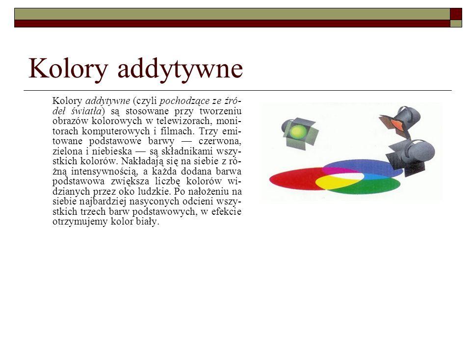 Kolory addytywne Kolory addytywne (czyli pochodzące ze źró- deł światła) są stosowane przy tworzeniu obrazów kolorowych w telewizorach, moni- torach k